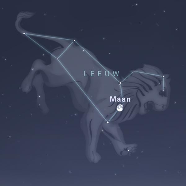 Sterrenkaartje de de maan in de Leeuw