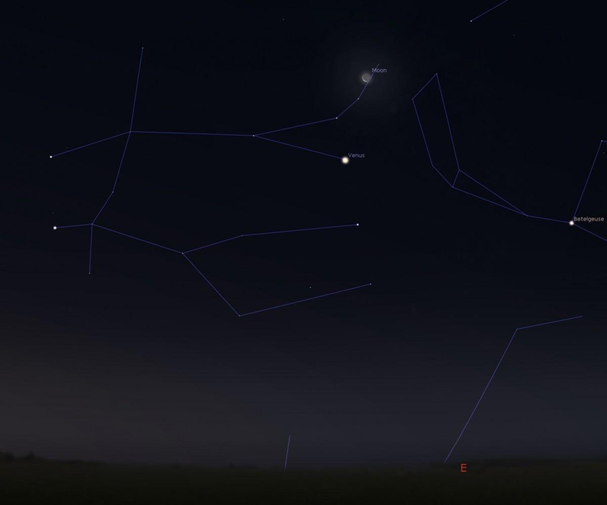 Kaartje de maan bij Venus