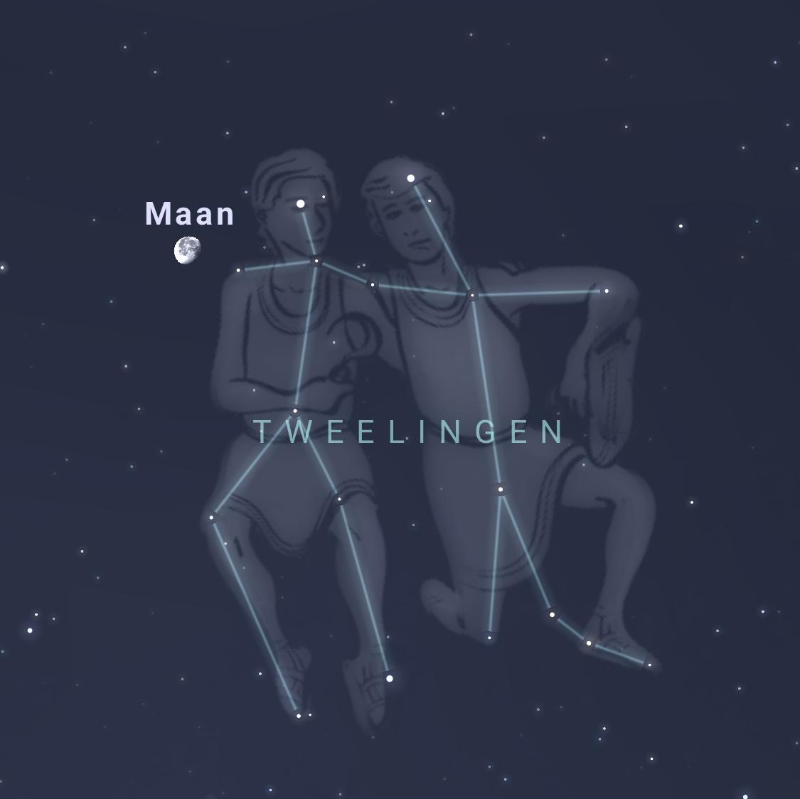 De Maan in  het sterrenbeeldTweelingen