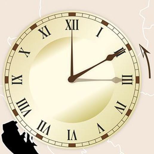 Een klok wordt teruggezet van 3 naar 2 uur
