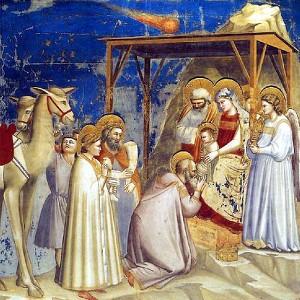 Fresco van Giotto di Bondone, met een komeet als de ster van Bethlehem