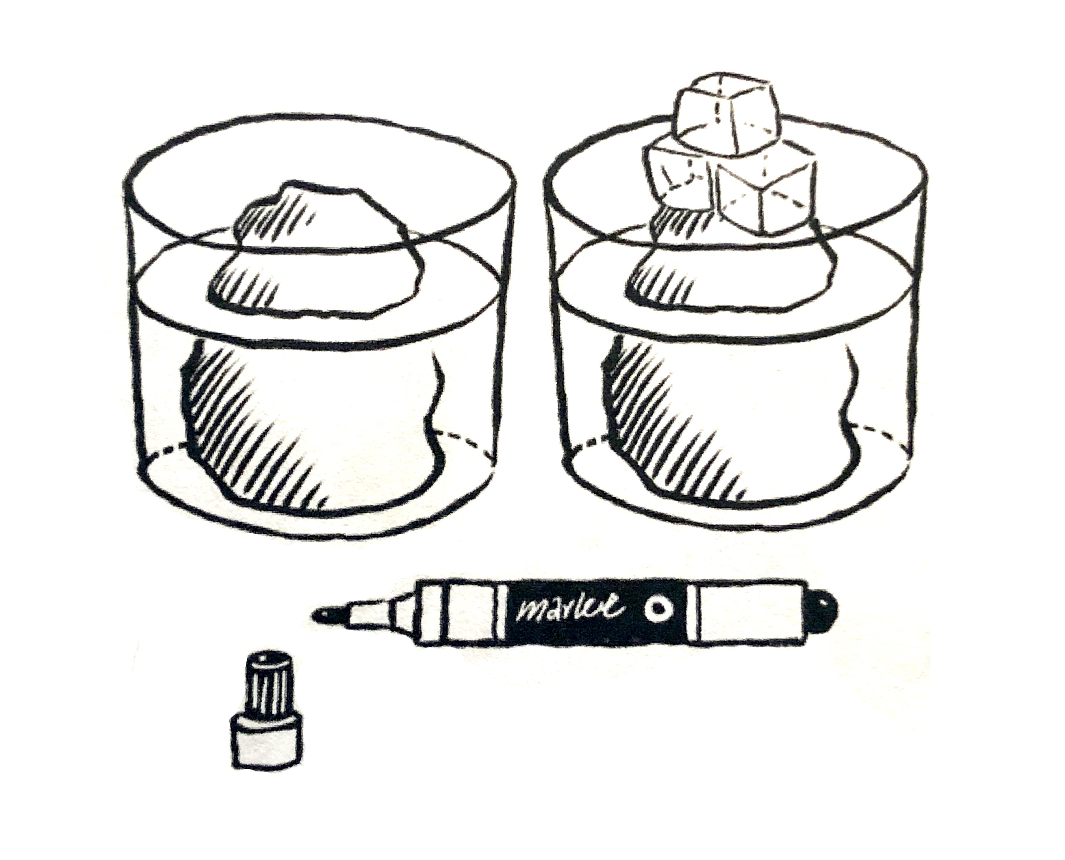 Spullen bij het experiment voor smeltend landijs
